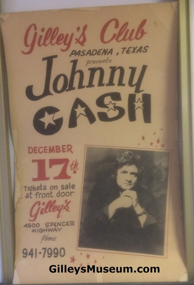 Vintage Gilley's 1977 Johnny Cash concert poster.
