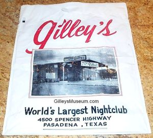 Gilley's Fan Club Shopping Bag.