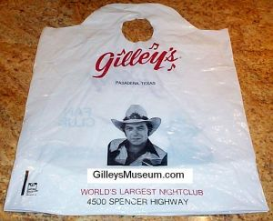 Gilley's curved shopping bag - back.
