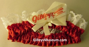 Gilley's Pasadena, Texas red and white lace garter.