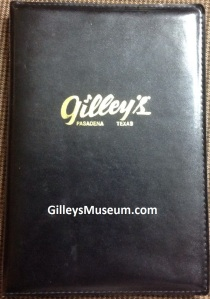 Gilley's Pasadena, Texas black leather drink menu binder.