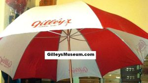 Side view of our Gilley's Pasadena, Texas red and white umbrella.